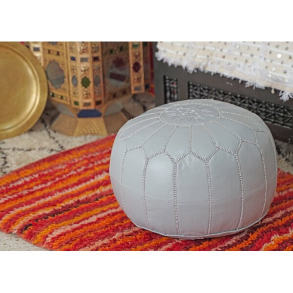 Spada Moroccan Leather Pouf By Bungalow Rose