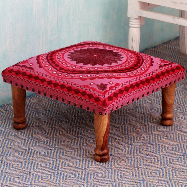 Mandalas Cotton Embroidered Ruby Vanity Stool by Novica