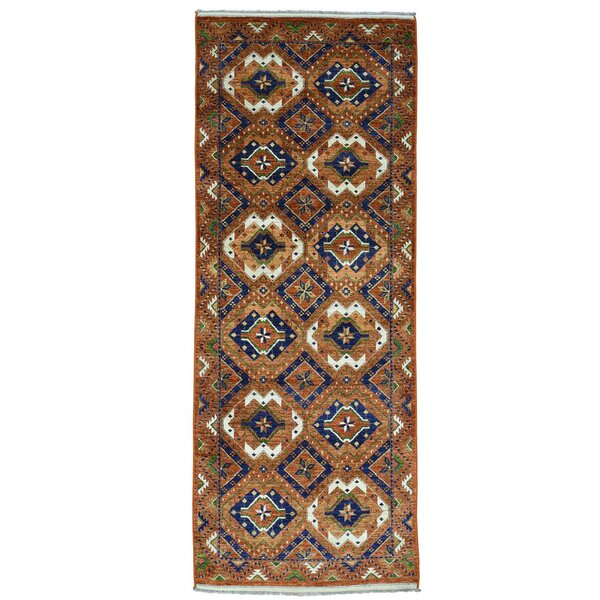 One-of-a-Kind Gallery Afghan Ersari Hand-Knotted Rust Red Area Rug by Bloomsbury Market