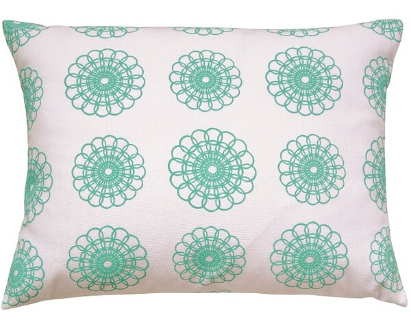 Doily All Over Pattern Block Print Accent Cotton Throw Pillow by Artgoodies