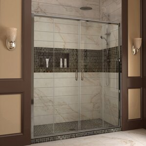 glass bathroom doors. Visions 60  x 72 Double Sliding Frameless Shower Door Bathtub Doors You ll Love Wayfair