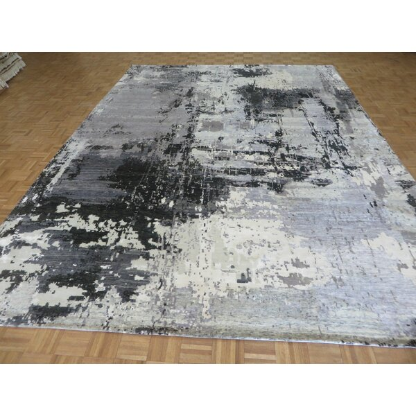 One-of-a-Kind Dickison Modern Abstract Hand-Knotted Black/Gray Area Rug by 17 Stories