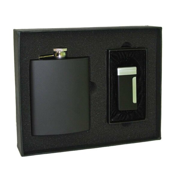 Stainless Steel Flask and Lighter Gift Set by Visol Products