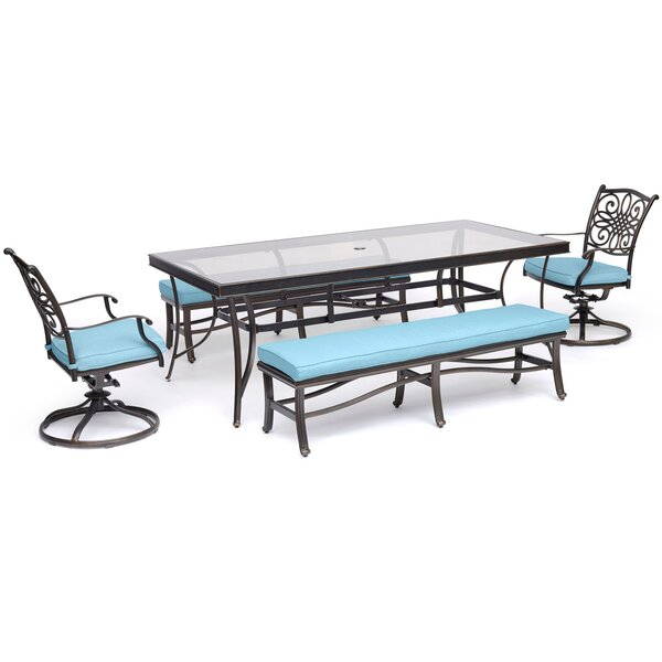Bottorff 5 Piece Dining Set with Cushions by Three Posts