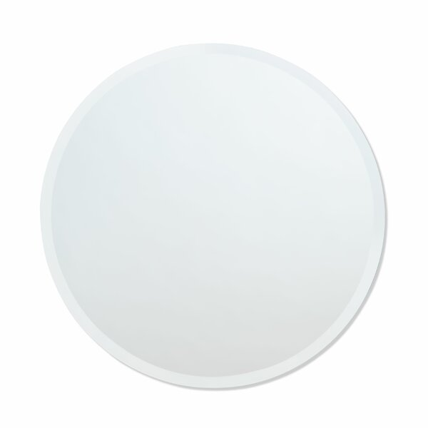 Printers Row Contemporary Beveled Edge Round Wall Mirror
