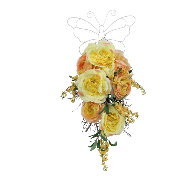 Blossom Rose and Ranunculus Teardrop Swag (Set of 4) by August Grove