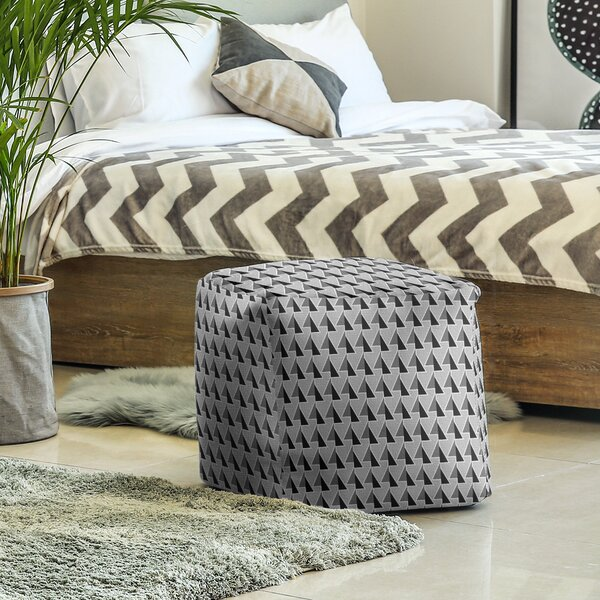 Shifted Arrows Pattern Cube Ottoman by East Urban Home