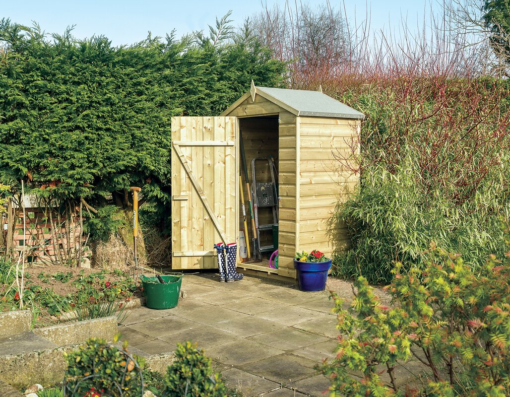 Rowlinson oxford 4 ft w x 3 ft d wooden storage shed for Garden shed 5 x 4