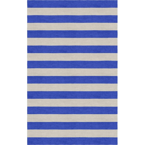 Crofts Stripe Hand-Tufted Wool Silver/Blue Area Rug by Harriet Bee