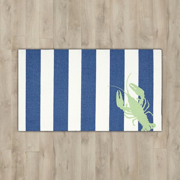 Paraiso Lobster Navy/White Area Rug by Breakwater Bay