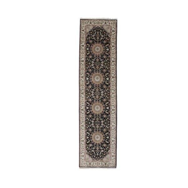 Runner Amet Oriental Hand-Knotted Wool Black Area Rug