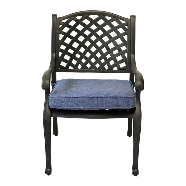 Salia Stacking Patio Dining Chair With Cushion By Fleur De Lis Living by Fleur De Lis Living New