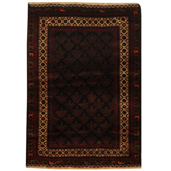One-of-a-Kind Cuadrado Balouchi Hand-Knotted Wool Brown Area Rug by World Menagerie