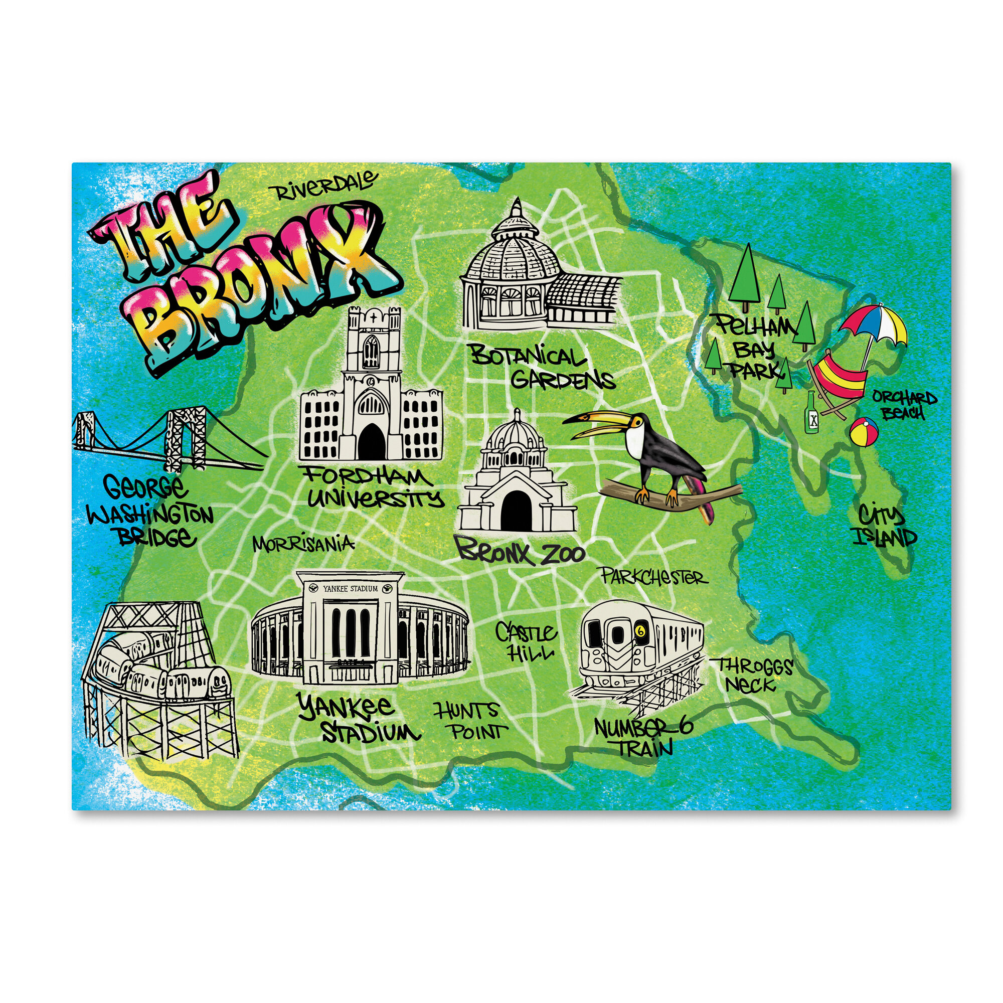 'Bronx Map' Graphic Art Print on Wrapped Canvas on ny aquarium map, south bronx map, brooklyn map, mta bronx bus route map, subway map, arthur avenue map, buffalo zoo ny map, prospect park map, american museum of natural history map, gun hill road map, zoo park map, wildlife safari map, arthur ave bronx ny map, bronx street map, woodlawn cemetery bronx map, manhattanhenge map, new york map, the bronx map, virginia zoological park map, central park map,