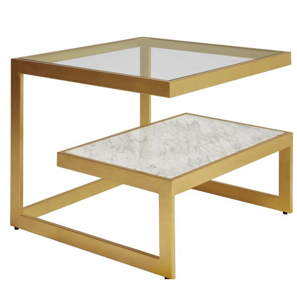 Glass Top Sled End Table With Storage By Worlds Away