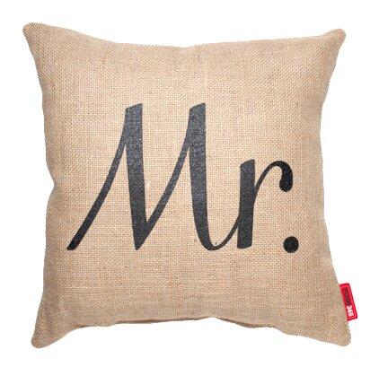 Expressive Mr. Burlap Jute Throw Pillow by Posh365