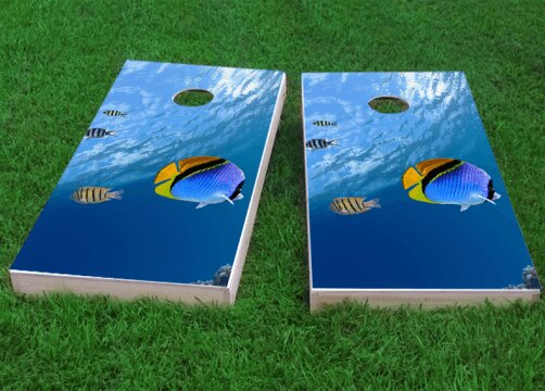 Blue Fish Cornhole Game (Set of 2) by Custom Cornhole Boards
