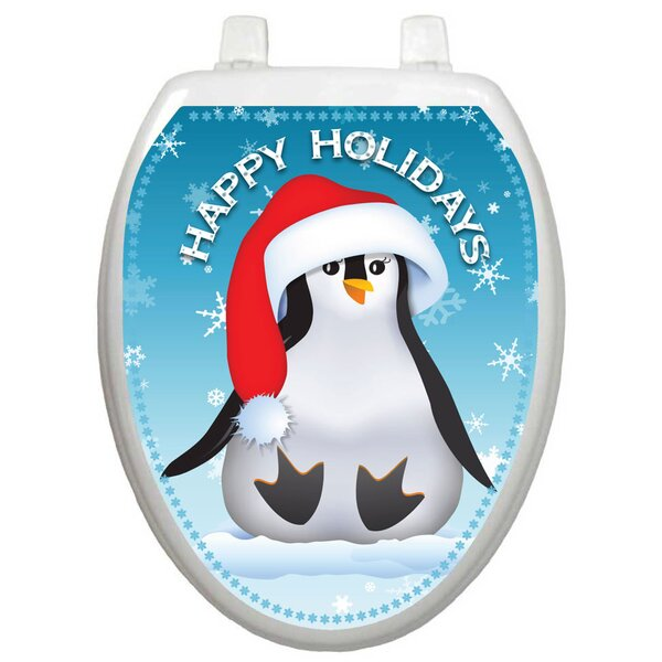 Holiday Happy Penguin Toilet Seat Decal by Toilet Tattoos