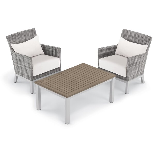 Saleem 3 Piece Rattan 2 Person Seating Group with Cushions by Brayden Studio