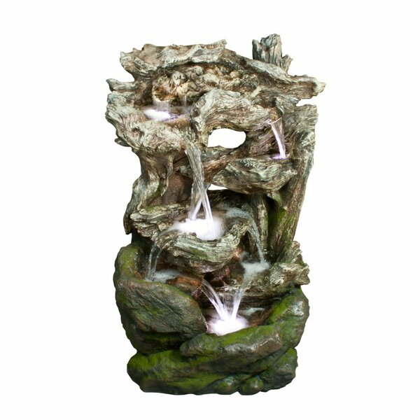 Resin Tiered Rainforest Waterfall Fountain with Light by Benzara