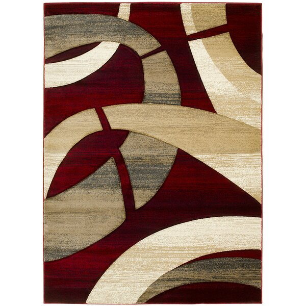 Abstract Hand-Woven Red/Tan Area Rug by LYKE Home