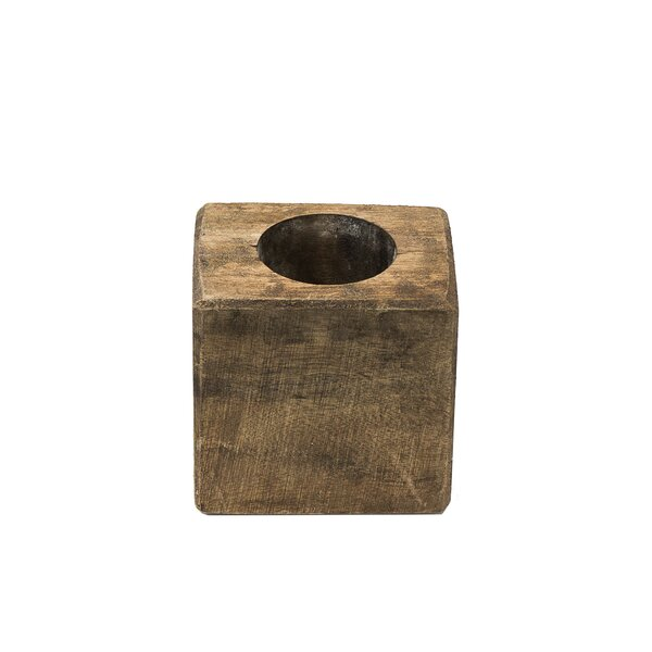 Sugar Mold 1 Hole Wood Candlestick by Union Rustic