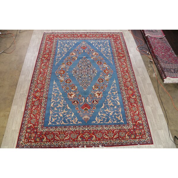 One-of-a-Kind Pastrana Hand-Knotted 1960s Kashan Red/Blue 10'4 x 13'10 Wool Area Rug