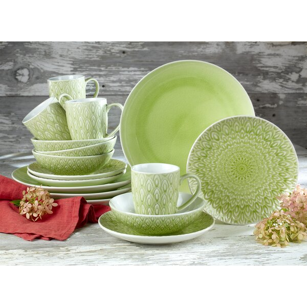 Hope Crackleglaze 16 Piece Dinnerware Set, Service for 4 by Bungalow Rose