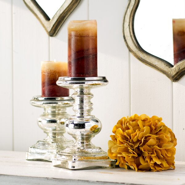 2 Piece Glass Candlestick Set by Lark Manor