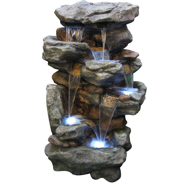 Resin/Fiberglass and Stone Rainforest Waterfall Fountain with LED Light by Woodland Imports