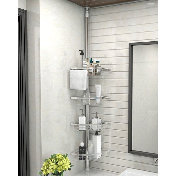 Cherry 4 Tier Adjustable Bathroom Constant Tension Corner Pole Shower Caddy by Rebrilliant