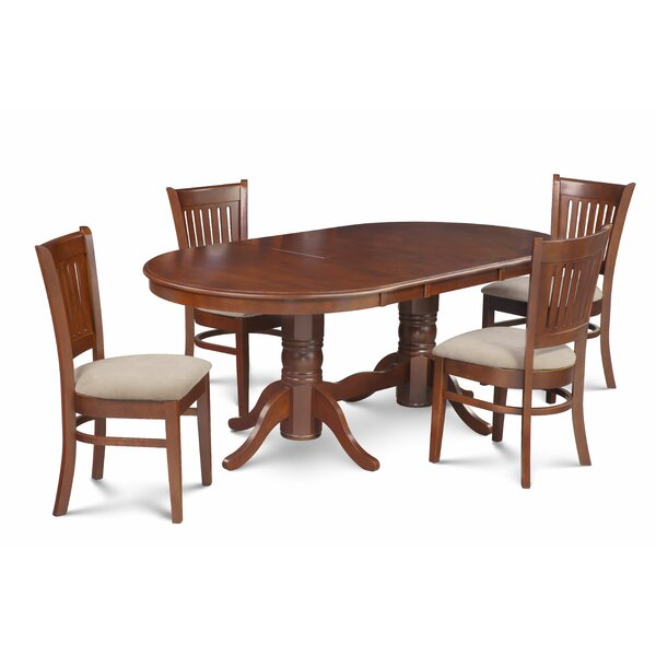 Miriam 5 Piece Extendable Solid Wood Dining Set by Breakwater Bay