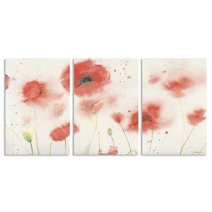 Red Poppy Profusion by Sheila Golden 3 Piece Painting Print Art Set by Trademark Fine Art