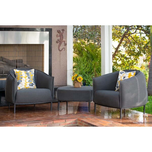 Carmelo Outdoor 3 Piece Seating Group with Sunbrella Cushions by Brayden Studio