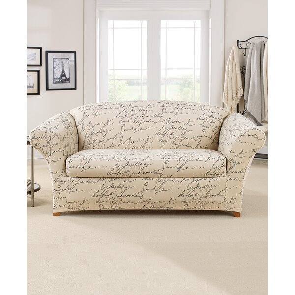 Stretch Pen Pal By Waverly Box Cushion Loveseat Slipcover By Sure Fit