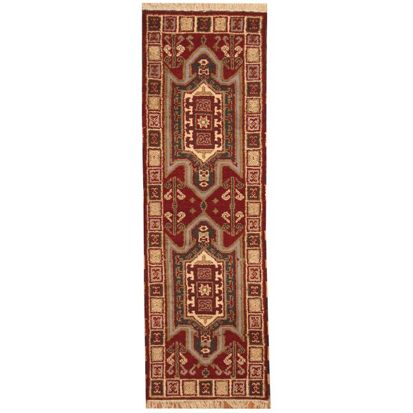Kazak Hand-Knotted Burgundy/Ivory Area Rug by Herat Oriental