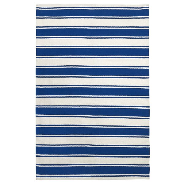 Zen Lucky Hand-Woven Cotton Blue/White Area Rug by Fab Habitat