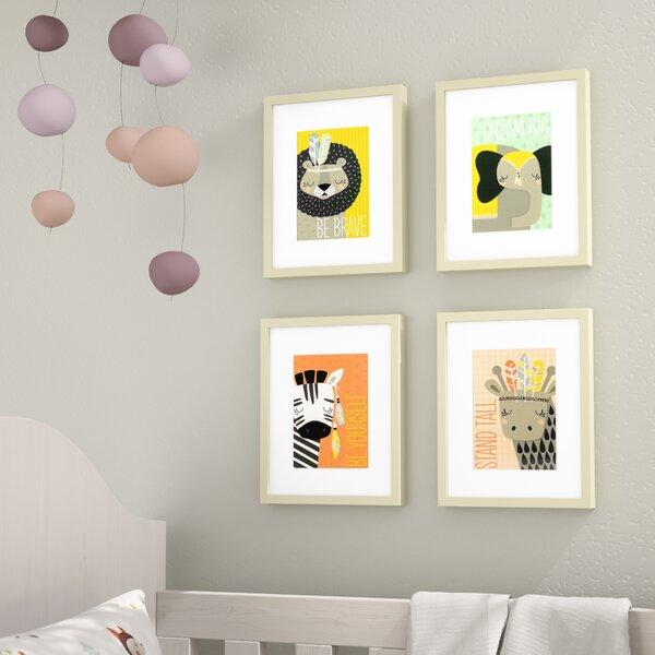 Gwen 4 Piece Explorer Animals Framed Paper Print Set by Viv + Rae