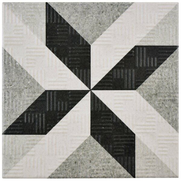 Region 6 x 6 Porcelain Field Tile in Light Gray/Black by EliteTile