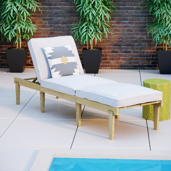 Ardsley Reclining Teak Chaise Lounge with Cushion by Mercury Row Mercury Row