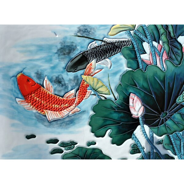 Black/Red Koi Tile Wall Decor by Continental Art Center