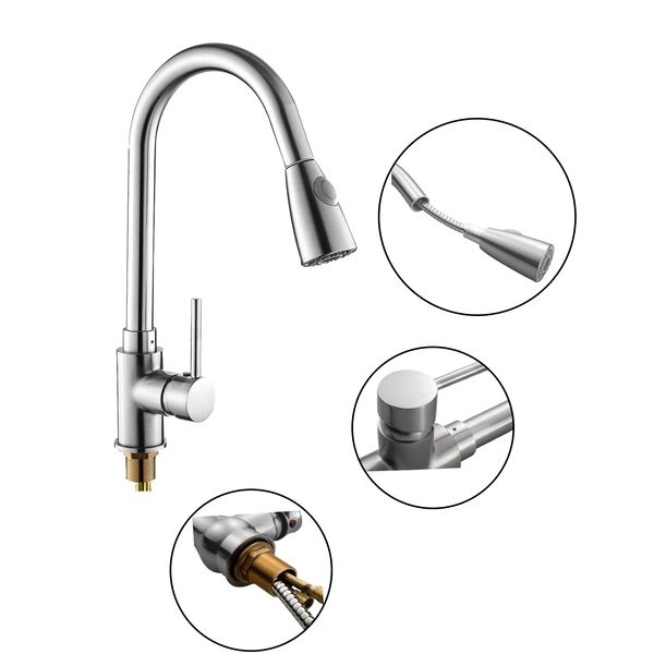 Pull Down Single Handle Kitchen Faucet by Calhome
