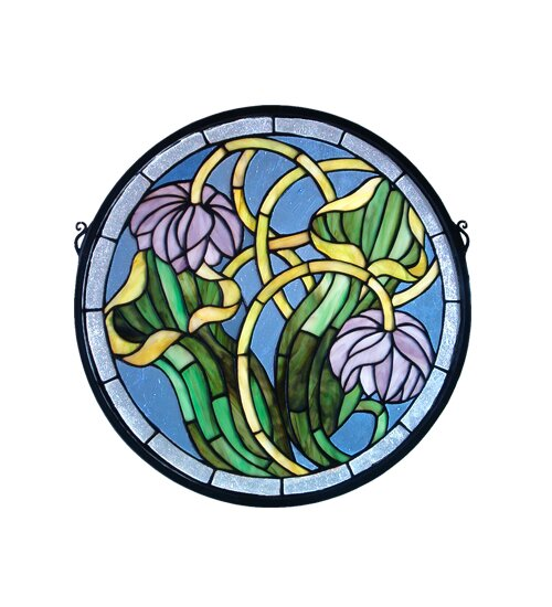 Pitcher Plant Medallion Stained Glass Window by Meyda Tiffany