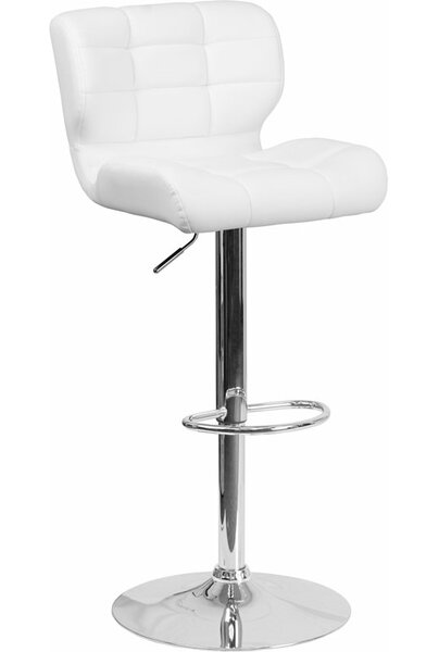 Whelan Mid Back Tufted Adjustable Height Swivel Bar Stool by Orren Ellis