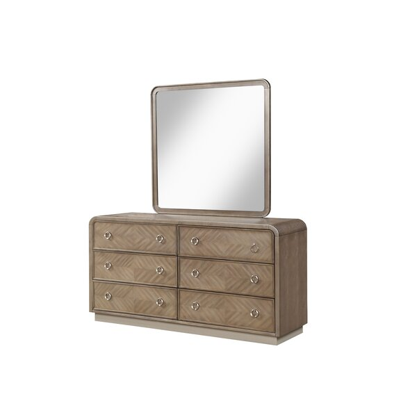 Waterfall 6 Drawer Double Dresser with Mirror by Fairfax Home Collections