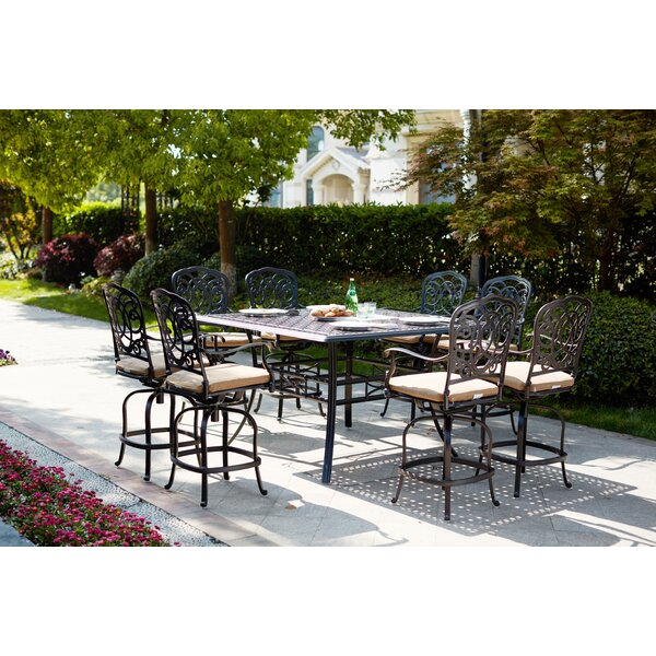 Battista 9 Piece Bar Height Dining Set with Cushions by Fleur De Lis Living