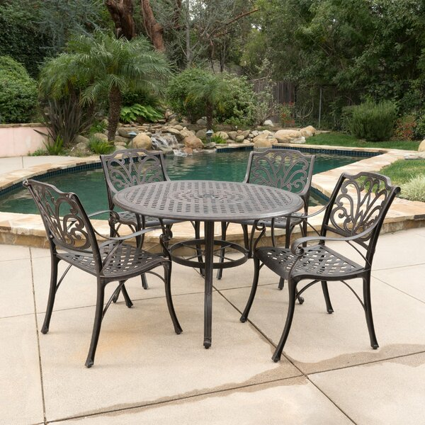 Finlayson 5 Piece Outdoor Dining Set by Three Posts