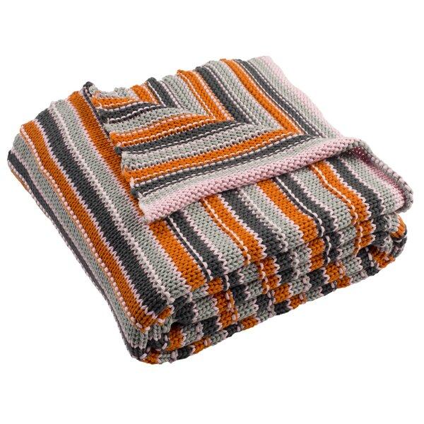 Ridgway Stripe Knit Cotton Throw by Ivy Bronx