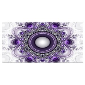 'Purple Fractal Pattern with Circles' Graphic Art on Canvas by Design Art