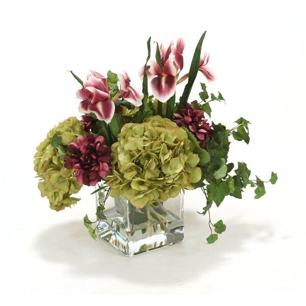 Waterlook Plum Zinnias and Irises, Green Hydrangeas in Square Glass Vase by Distinctive Designs